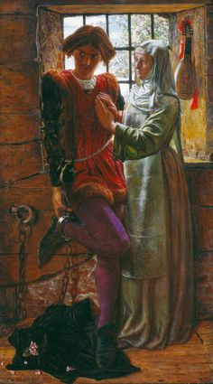 William Holman Hunt, Claudio and Isabella, 1850 From the Tate Gallery: The picture illustrates the dilemma of Claudio and Isabella and is based on a scene from Shakespeare'sMeasure for Measure. Claudio's life can only be saved if his sister Isabella agrees to sacrifice her virginity to Angelo, the absent Duke's deputy. The moment is summed up by these lines from the play, which Hunt inscribed on the picture frame: 'Claudio. Death is a fearful thing. Isabella. And shamed