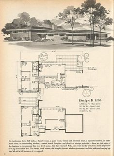These are beautiful vintage house plans that are efficient, spacious and full of memories! The house plans are from Home Planners 180 Multi-Level Designs 1977 You might also want to see these Vintage House Plans posts: Modern Floor Plans, Modern House Plans, House Floor Plans, Vintage Architecture, Architecture Plan, Vintage House Plans, Vintage Homes, Mcm House, Home Planner