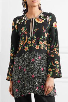 Etro - Floral-print Silk Crepe De Chine Blouse - Black - IT46