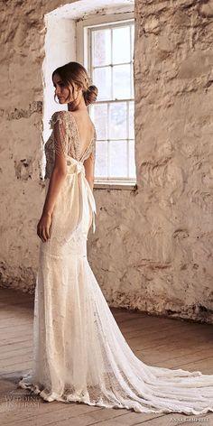 anna campbell 2018 bridal cap sleeves v neck heavily beaded embellished bodice elegant sheath wedding dress short train (10) bv -- Anna Campbell 2018 Wedding Dresses