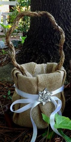 Custom Rustic Style Flower Girl Basket Cream by BVDesignsonline - cover caddy with burlap and color coordinate ribbon Chic Wedding, Fall Wedding, Our Wedding, Dream Wedding, Wedding Stuff, Wedding Ideas Do It Yourself, Wedding With Kids, Wedding Bells, Wedding Flowers