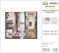 Apartamente de vanzare Mihai Bravu Residence 9 -2 camere tip C Utila, Floor Plans, Floor Plan Drawing, House Floor Plans