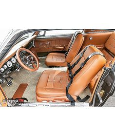 67 mustang fastback gt500 grey with camel interior. custom painted 66 brown grommetts
