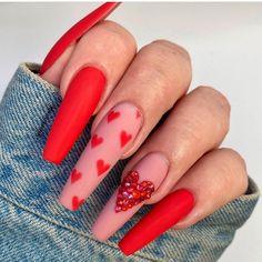 Installation of acrylic or gel nails - My Nails Valentine's Day Nail Designs, Cute Acrylic Nail Designs, Nails Design, Salon Design, Pretty Nail Designs, Summer Acrylic Nails, Best Acrylic Nails, Red Summer Nails, Long Nails