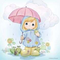 Precious Moments colouring - Girl with umbrella Precious Moments Quotes, Precious Moments Coloring Pages, Precious Moments Figurines, Cute Images, Cute Pictures, Comic Pictures, April Showers, My Precious, Digi Stamps