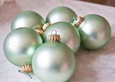 Mint Green Ornament Balls Krebs Christmas Vintage decoration Made Roswell New Mexico