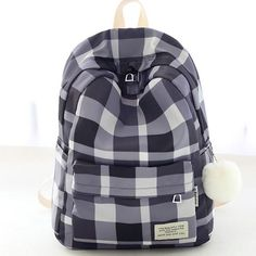 How nice Fresh Lattice School Bag Grid Large College Canvas Backpack ! I want to get it ASAP! Cute Backpacks For School, Cool Backpacks, College Backpacks, Teen Backpacks, Stylish Backpacks, Canvas Backpacks, Leather Backpacks, Leather Bags, Black Backpack