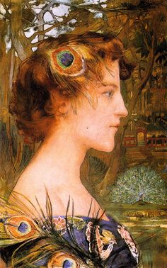 MAXENCE, Edgard French (1871 - 1954)_Profile with Peacock 1896
