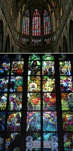 While the interior of St. Vitus Cathedral in Prague is very beautiful, the stained glass windows are of special note. Alfons Mucha, the Czech Art Nouveau painter, was responsible for the new stained glass windows in the north wall of the cathedral during the 20th century. (Link)