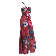 Giorgio Armani hand painted silk gown size 4 / 38.   From a collection of rare vintage evening dresses at https://www.1stdibs.com/fashion/clothing/evening-dresses/ @1stdibscom @GiorgioArmani #fashion #shopping #resale #forsale #designer