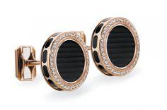 Harry Winston Rose Gold & Micro Pave Diamond Ocean Cufflinks #harrywinston #rosegold #cufflinks
