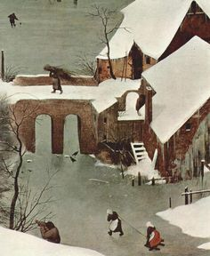 Pieter Brueghal - Hunters in the Snow, 1565, detail