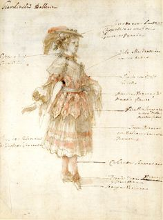 Stefano della Bella | Ballet Costume Study for a Gardener | Pen and brown ink, with brown wash and watercolour, over graphite | 276 x 202 mm | British Museum