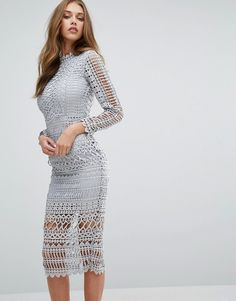 Missguided High Neck Structured Lace Midi Dress
