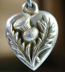 Vintage thistle puffy heart ~ From the estate of Joan Munkacsi