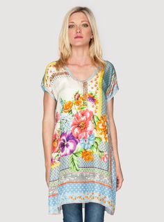"Johnny Was Clothing Signature Silk ""Modisch"" Print Tunic Top"