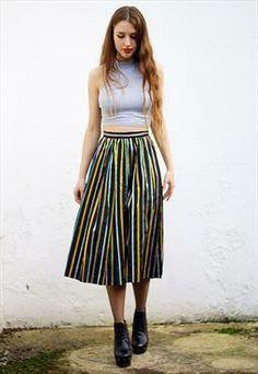 Vintage Black Striped #Full #Midi #Skirt UK 12 #asosmarketplace