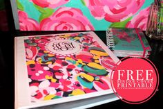Printable Binder Covers Jessica Marie Design Blog  These are so cute! Lilly Pulitzer Prints with your monogram! Seriously, just download, delete the toggle monogram, enter your initials, and print! Monogram Binder Covers, Binder Covers Free, Binder Inserts, Blog Design, College Life, College Ready, College Style, Classroom Organization, Classroom Decor