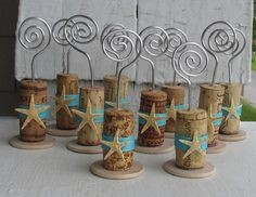 Starfish Wine Cork Place Card Holders Or Photo Card Holders