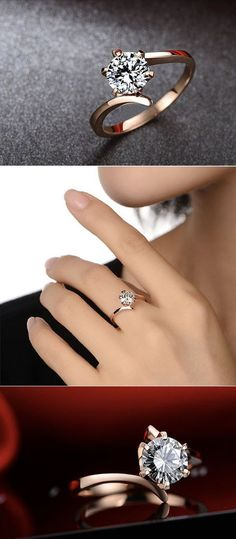 Bague Diamant Tendance 2018 : round rose and diamand moissanite engagement ring anillos de compromiso Wedding Rings Simple, Unique Rings, Beautiful Rings, Trendy Wedding, Summer Wedding, Wedding Vintage, Dream Wedding, Gold Wedding, Simple Rings