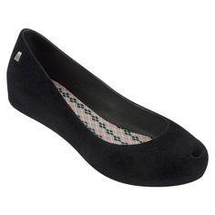 Melissa Shoes Ultragirl Flock Black ($93) ❤ liked on Polyvore