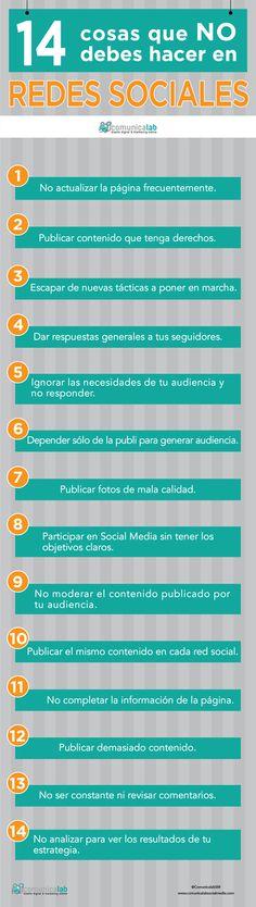 14 cosas que no debes hacer en #redessociales #infografia #empleo #marcapersonal