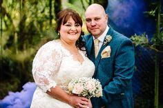Floral Hall Wedding - Staffordshire WEdding Photography - Gemma & Dan-399 Bride & Groom - Smoke grenade