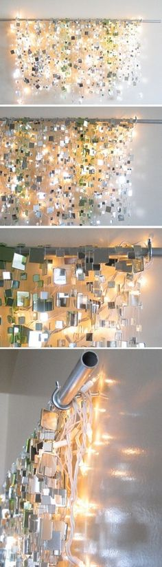Photo Backdrop - Glue small mirror squares onto string and hang from a rod with Christmas lights. This looks awesome!