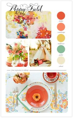 LOVE these colors! Oranges/yellows for accents in den. Love for the kitchen, too.