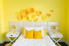 Adelaine Morin S Hello Yellow Bedroom Makeover Yellow Wall Diy Wall Decor For Bedroom, Bedroom Wall, Home Decor, Bedroom Ideas, Creative Wall Decor, Creative Walls, Yellow Room Decor, Flower Wall Decor, Yellow Walls