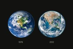 Comparing two Earth photos (deforestation); one from 1978 and the other from 2012