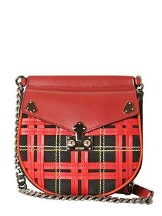 Moschino Red Holly Tartan Suede and Leather Bag