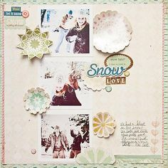 Snow LOVE - Scrapbook.com - Such a soft and pretty layout to showcase the great wintertime photos. #scrapbooking #cratepaper #winter