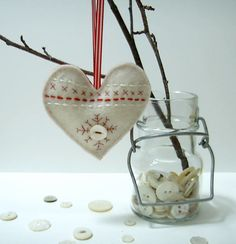 Christmas felt ornament scandinavian white heart. $10.00, via Etsy.