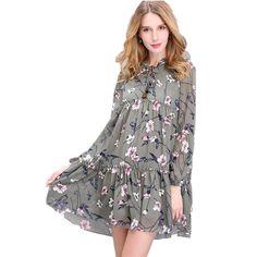 2018 New Women Dress Tops Print Floral Woman Dress Ethnic Plus Size Loose  Bandage Boho Chic Vintage Causal Beach Dresses f3468bdabb36