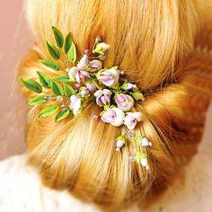 Floral hair pins Set of 3 Wedding hairpiece Bridal headpiece