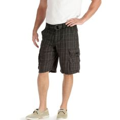 Lee Men's Dungarees Belted Wyoming Cargo Short, Blackjack Plaid, 34 $26.90 #Lee #Pants #Shorts
