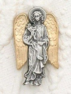 "Catholic Gift Silver Tone Archangel St Saint Gabriel 1"" Lapel Pin by Best Sellers"