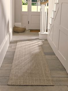 Hand braided using traditional techniques in a wool and cotton blend, our simple runner has intricate crochet detail with a natural jute look. Touchably soft but hardwearing enough for your hallway or living space, our Scandi inspired crochet rug looks s Hallway Runner, Hallway Rug, Hallways, Hallway Flooring, Upstairs Hallway, Hallway Furniture, Hallway Ideas, Scandinavian Furniture, Contemporary Furniture