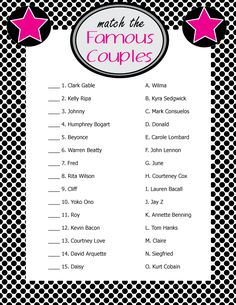 "Printable Bridal Shower Game ""Match the Famous Couples"" - Sent directly to your email for you to start printing right away!  #bridalshower  #bridalshowergames  #weddingshowergames"