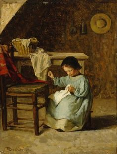 SEWING GIRL (1869)   Adolf von Becker (14 August 1831 – 23 August 1909) was a Finnish genre painter and art professor of German descent. He was one of the first Finnish artists to study in Paris.