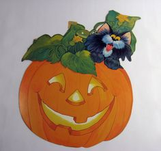 1980s JackOLantern Black Cat Decoration 100a by munnypenney