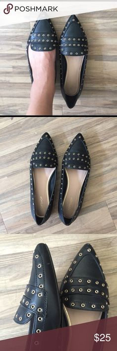 Topshop Faux Leather Loafers Black with gold details, worn once, pointy. Euro size 38/ US 7.5 Topshop Shoes Flats & Loafers