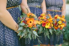 lovely fall colors and bridesmaids details