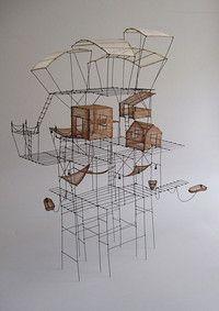 ° En attendant le vent fil de fer & tarlatane teintée H 48 X 22 X 41 cm Art Fil, Art Sculpture, Architecture Drawings, Assemblage Art, Wire Art, Art Plastique, Clipart, Installation Art, Metal Art