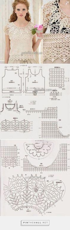 top - created on Gilet Crochet, Crochet Collar, Crochet Jacket, Crochet Cardigan, Crochet Stitches, Knit Crochet, Crochet Tops, Crochet Video, Crochet Diagram