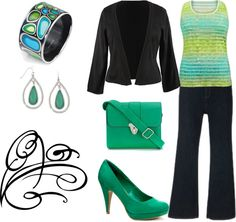 Plus Size Black and Green, created by intcon on Polyvore