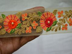 Crafting Trim By 2 Yard Fabric trims and embellishments Indian Laces Embroidered Trim Decorative Sari Border Sewing Trimmings You can purchase from what's Aap no. Border Embroidery, Hand Embroidery, Machine Embroidery, Boarder Designs, Fashion Tape, Fashion Sewing, Saree Border, Indian Fabric, Sewing Trim
