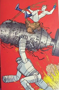 Big guy and rusty robot meets madman by Geoff Darrow
