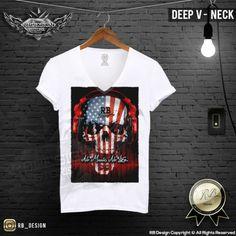 Men's Skull T-shirt Headphones Festival Music No Life Deep V Neck Slim Fit MD202